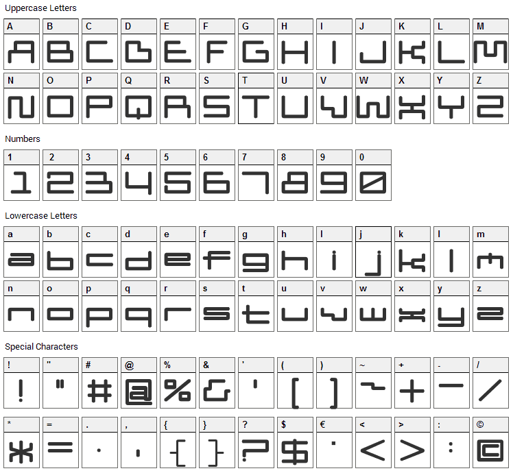 Pipism Font Character Map