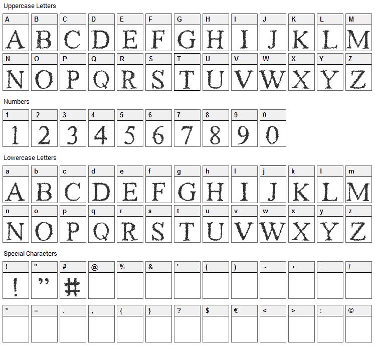 Piracy Font Character Map