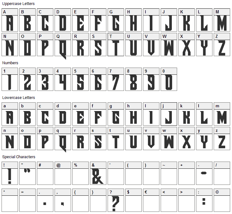 Pirate Ship Font Character Map