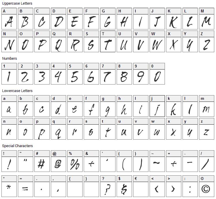 Pisan Font Character Map