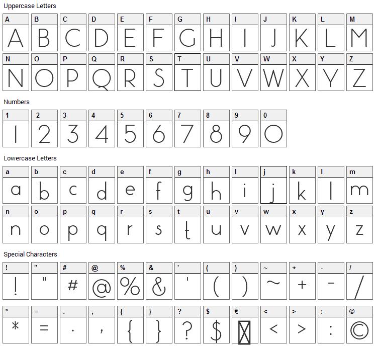Pistara Font Character Map