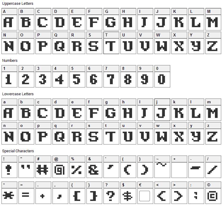 Pixel Azure Bonds Font Character Map