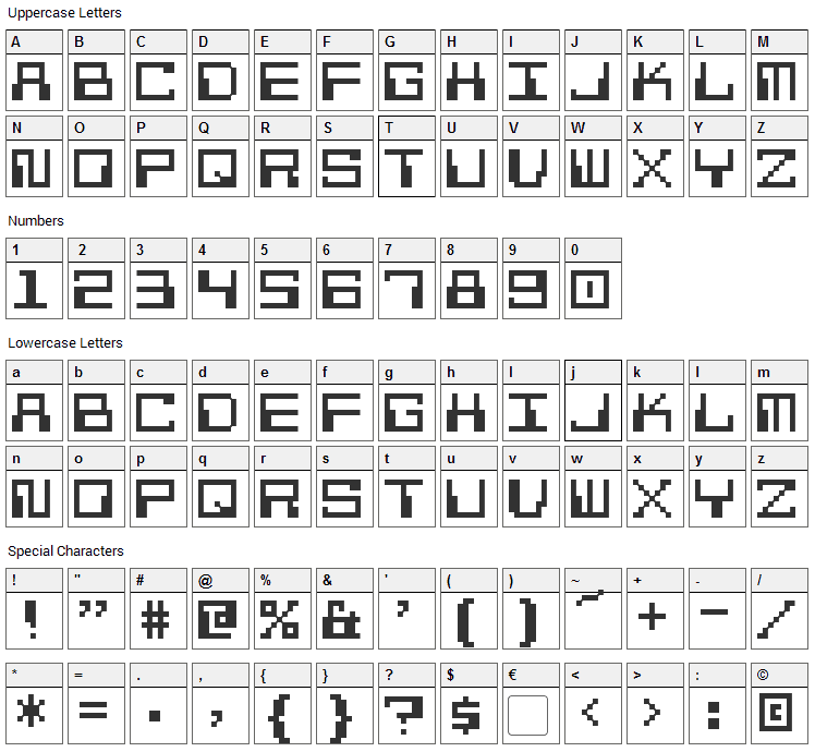 Pixel Calculon Font Character Map
