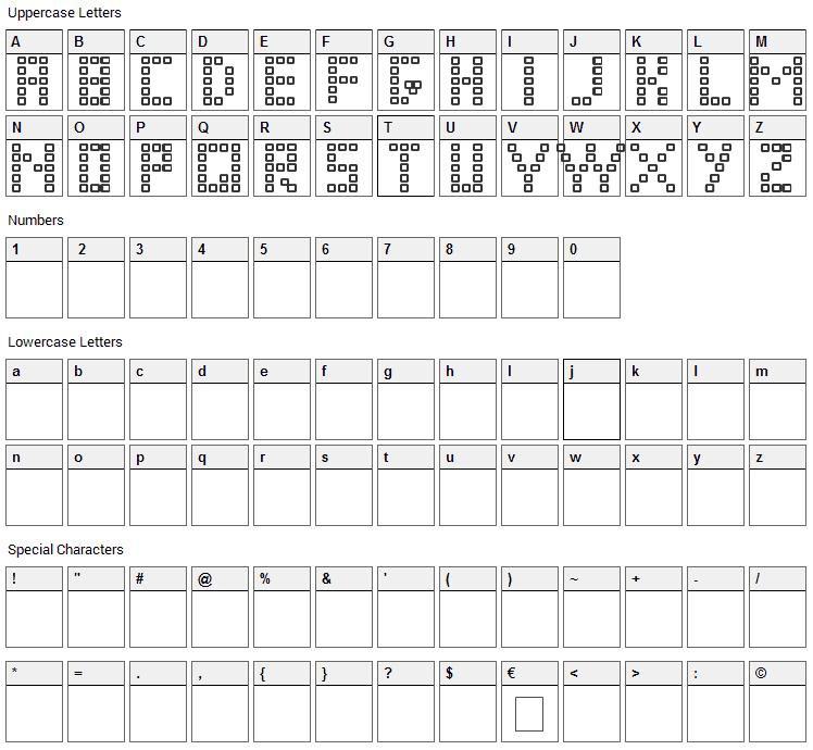 Pixel Chunker Font Character Map