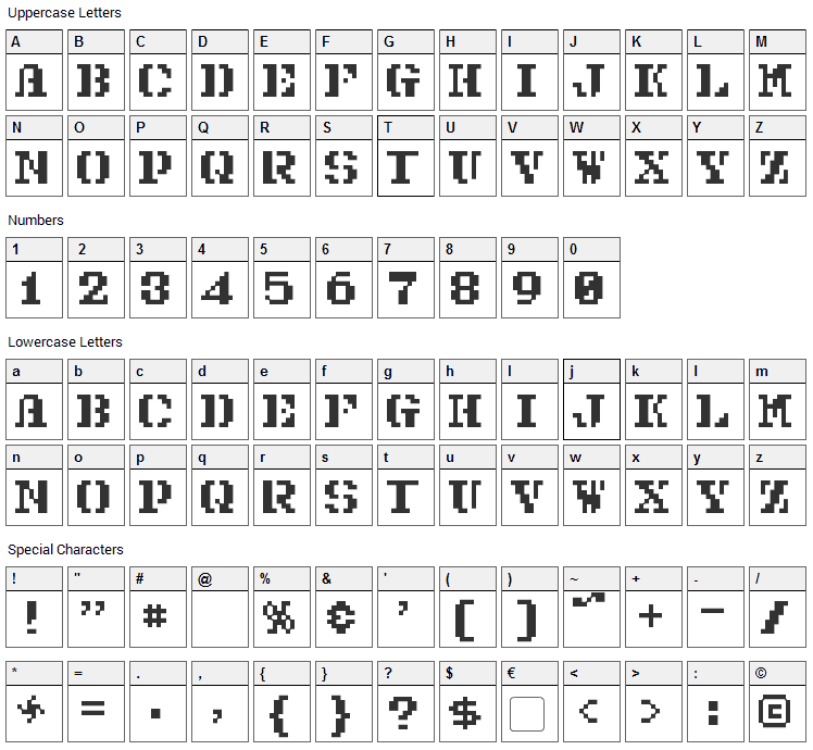 Pixel Combat Font Character Map