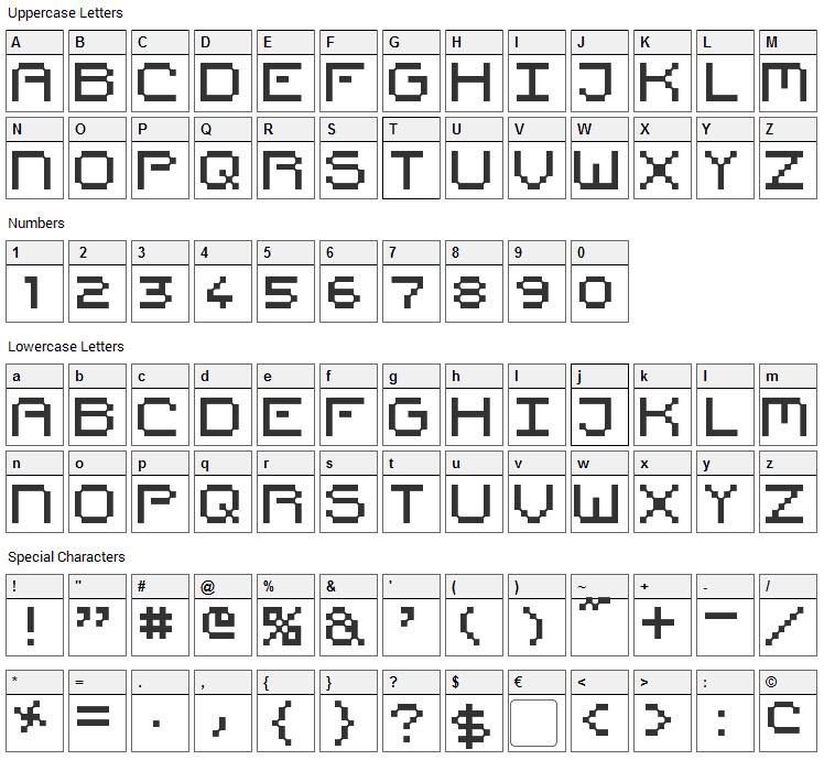Pixel Countdown Font Character Map