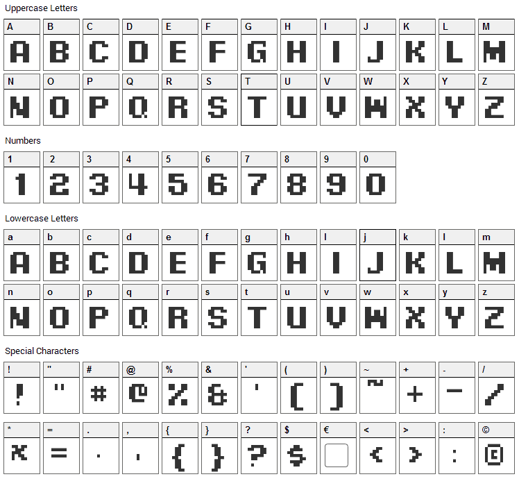 Pixel Digivolve Font Character Map