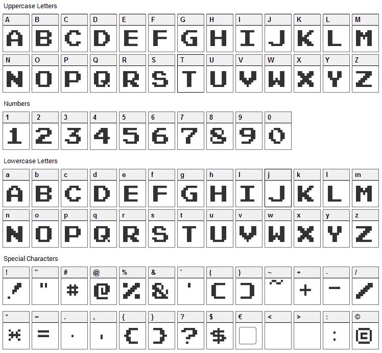 Pixel Emulator Font Character Map