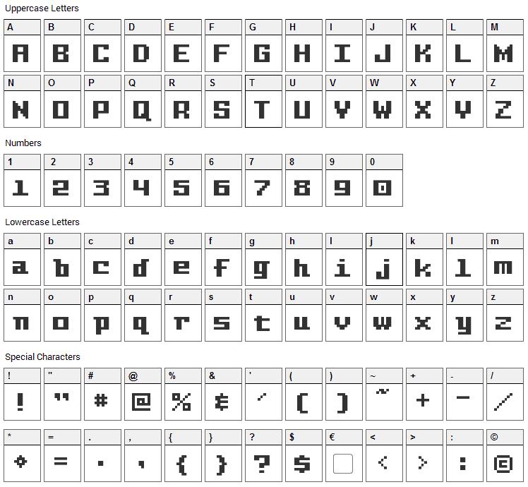 Pixel Intv Font Character Map
