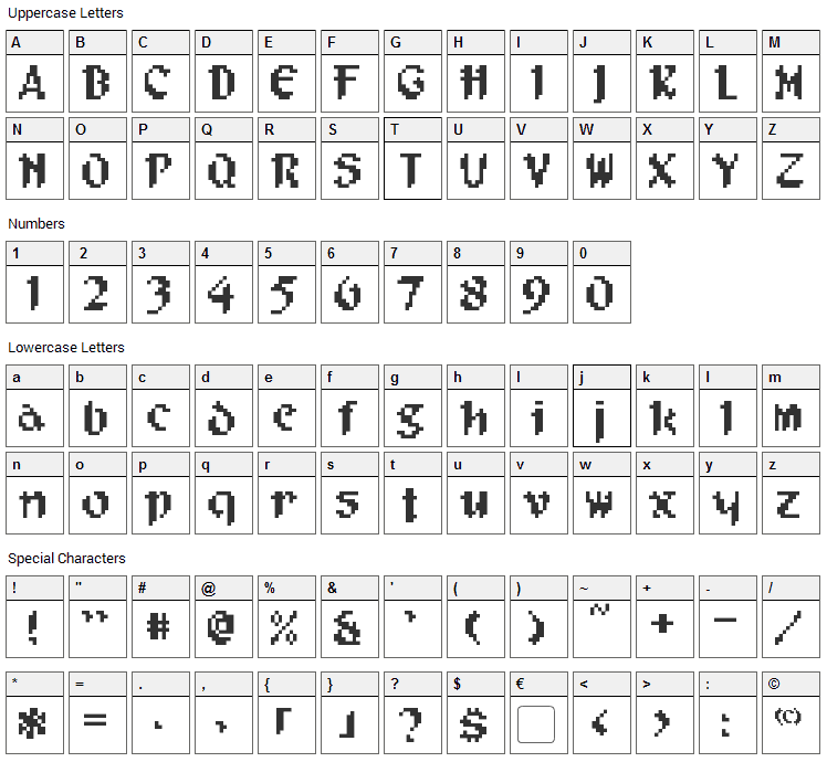 Pixel Musketeer Font Character Map