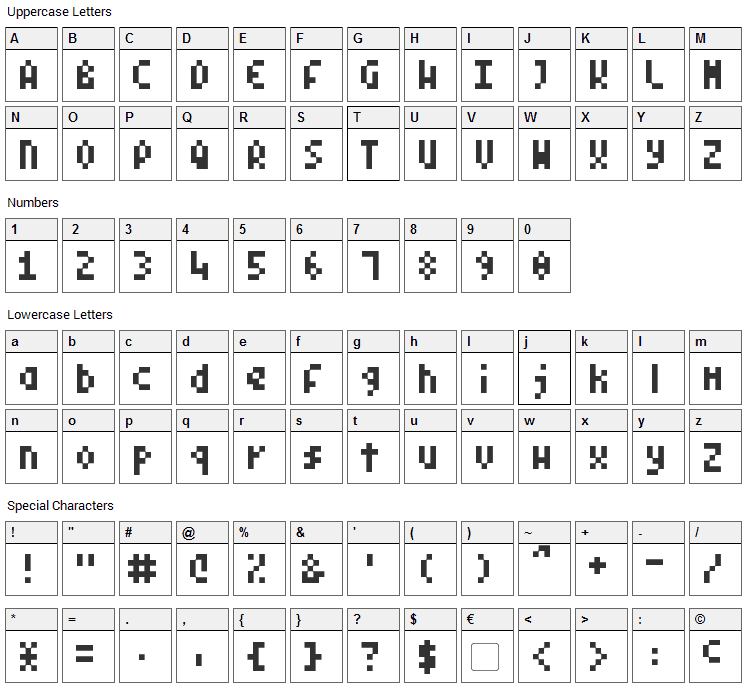 Pixel Symtext Font Character Map