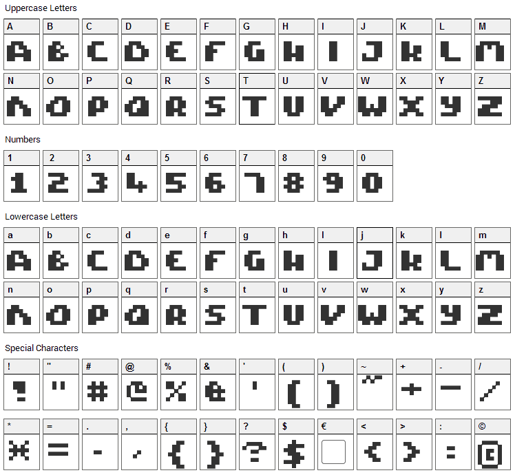 Pixel Tactical Font Character Map
