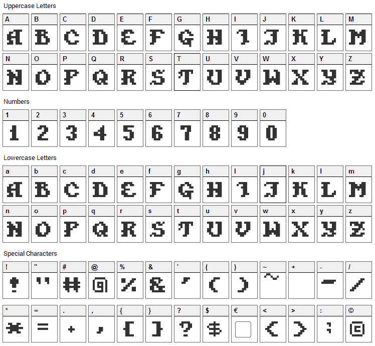 Pixel Takhisis Font Character Map