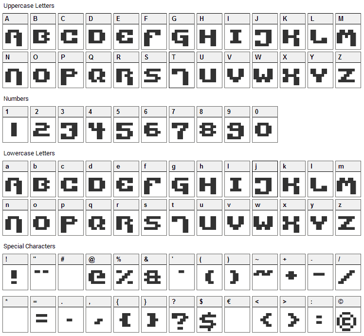 Pixel Technology Font Character Map