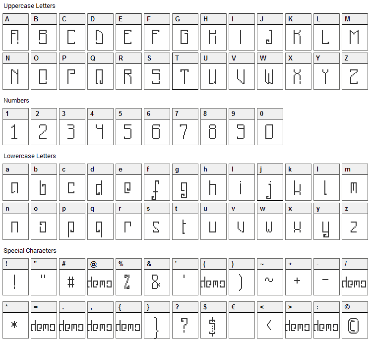 Pixelanky CE Font Character Map