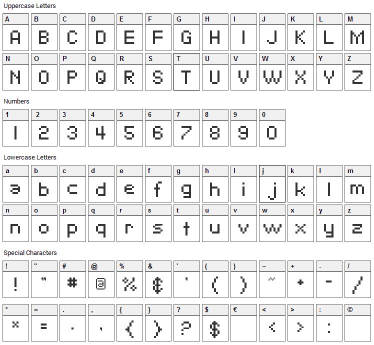 Pixelate Font Character Map