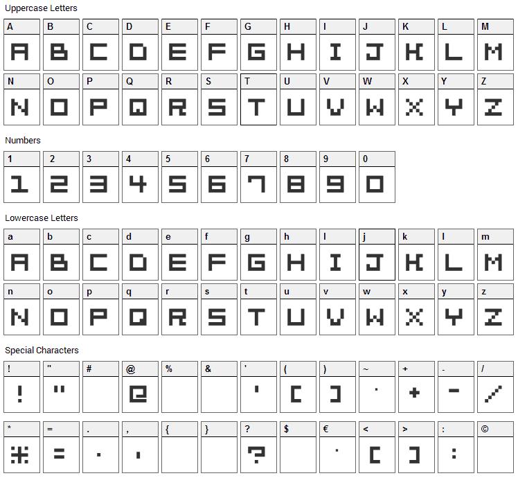 Pixelation Font Character Map