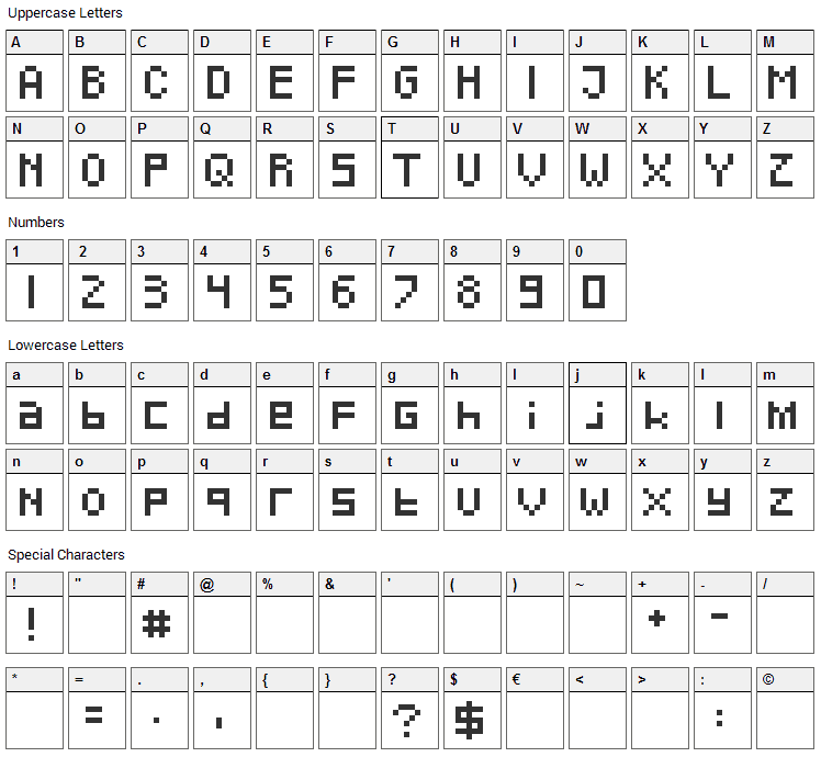 Pixeled Font Character Map