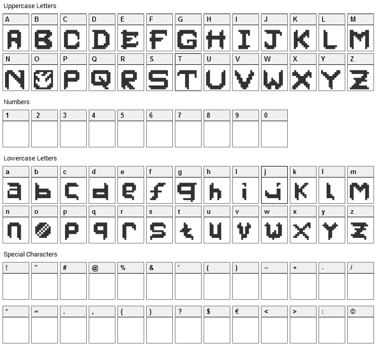 PixelFaceOnFire Font Character Map