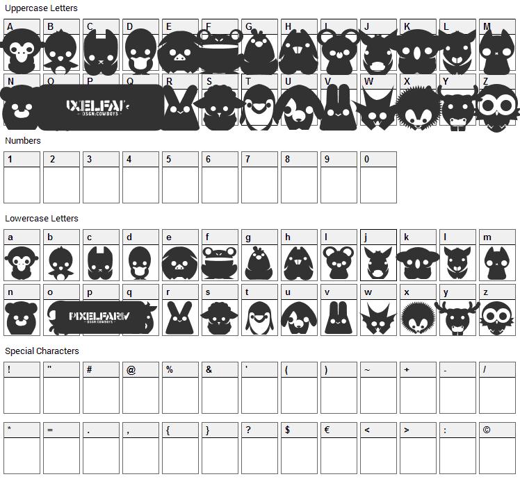 Pixelfarms Pets Font Character Map