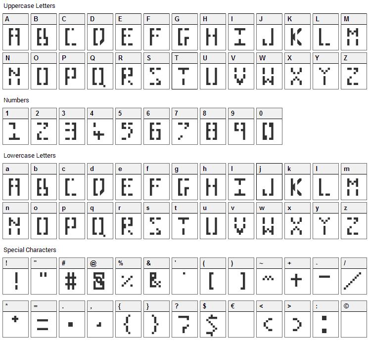 Pixelhole Font Character Map