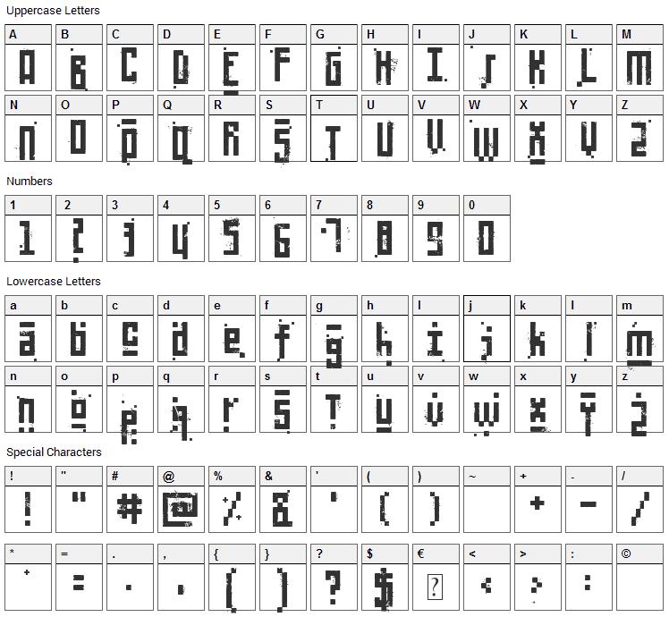 Pixelic War Font Character Map