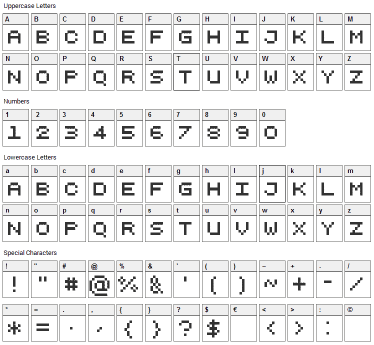 Pixelicious Font Character Map