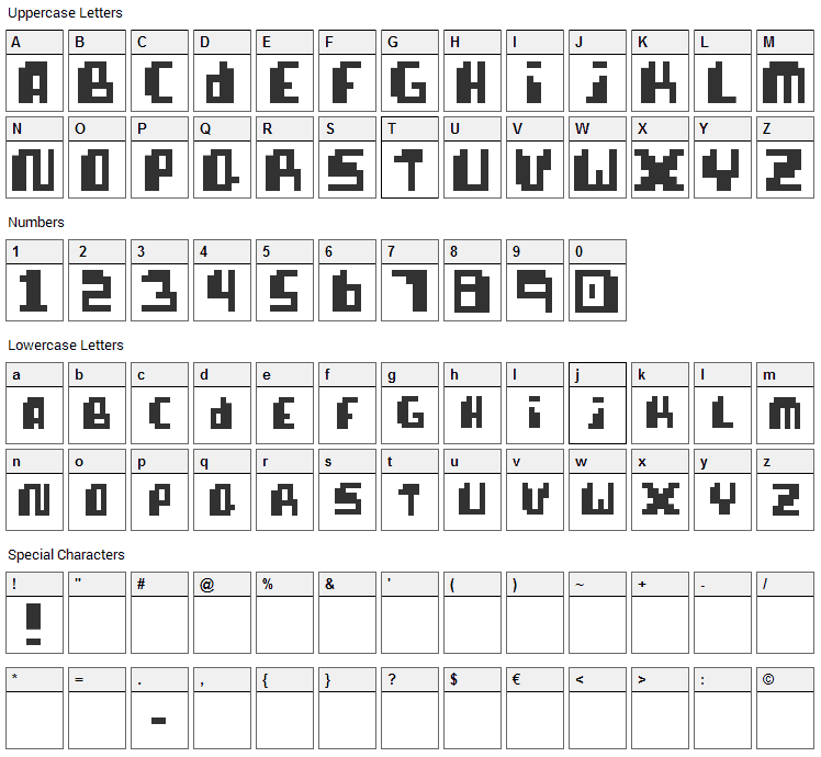 Pixellife Font Character Map