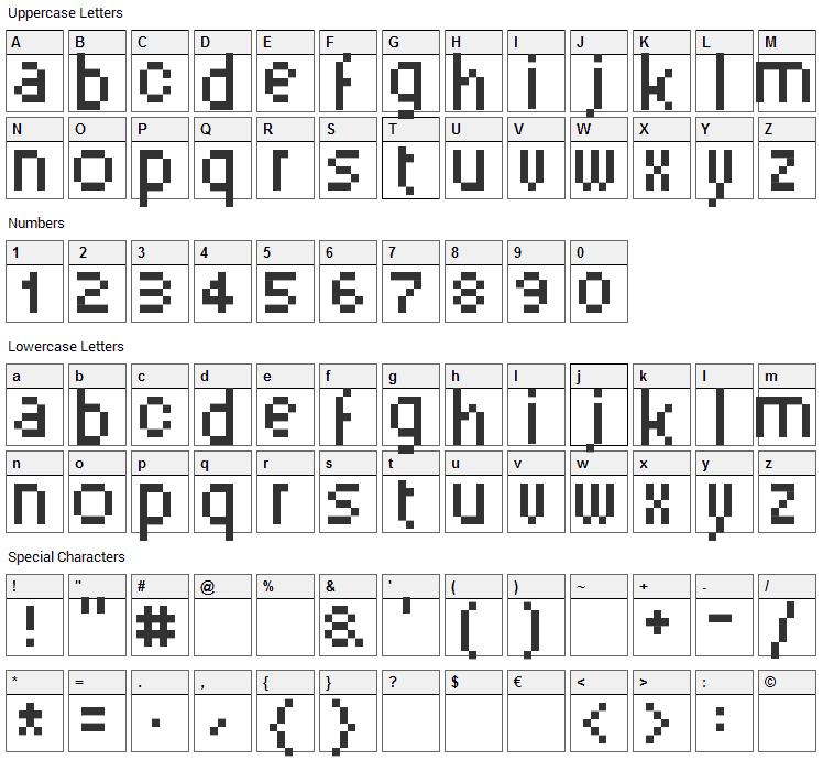 PixelSix Font Character Map