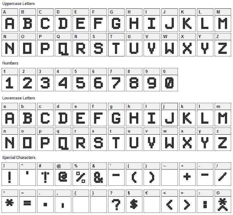 PixelSplitter Font Character Map