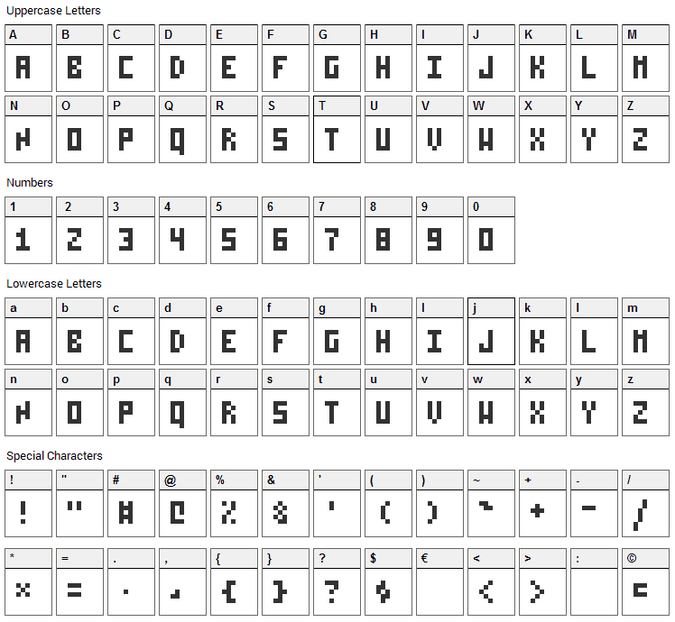 Pixelzim 3x5 Font Character Map