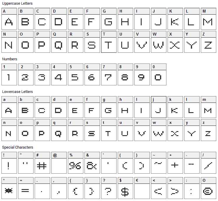 PIXgothic_7 Font Character Map