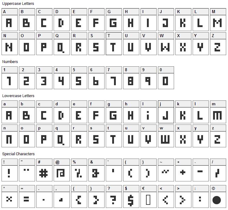 Pixies Font Character Map