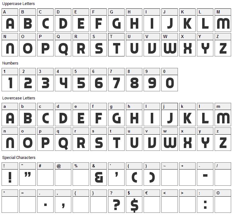 Piximisa Font Character Map