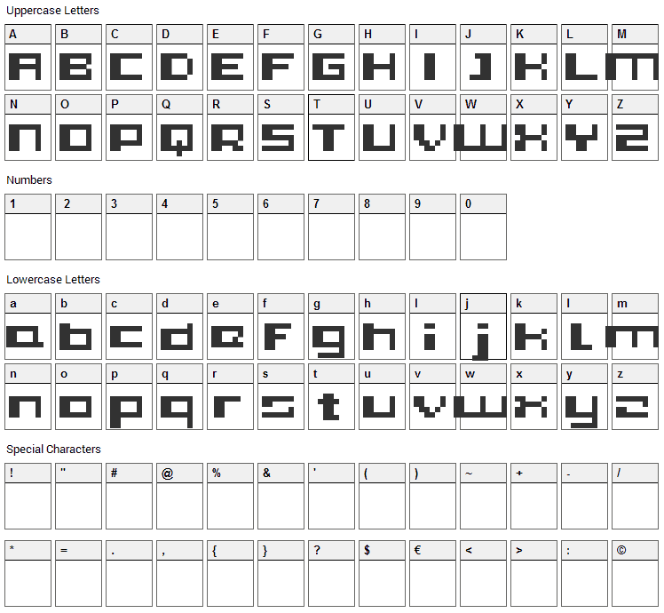 PIXleft_5 Font Character Map