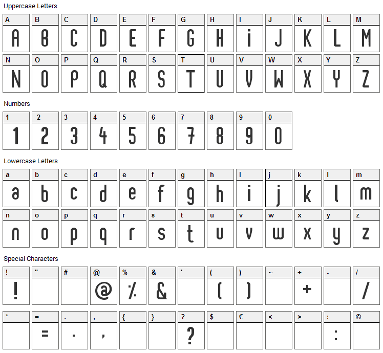 Pixochrome Font Character Map