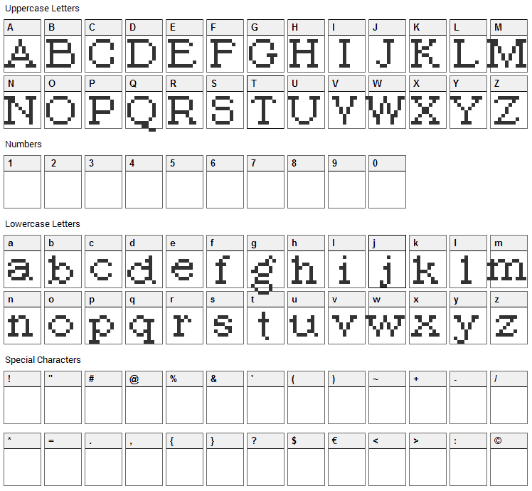 PIXroma_8 Font Character Map