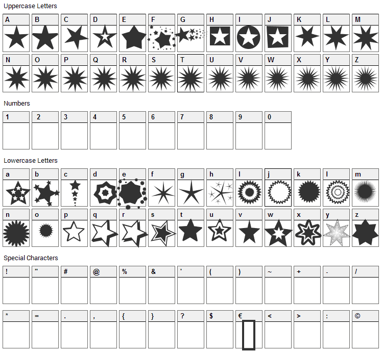 PizzaDude Stars Font Character Map