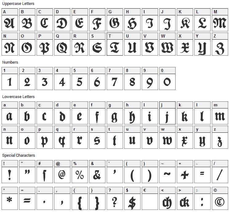 Plakat Fraktur Font Character Map