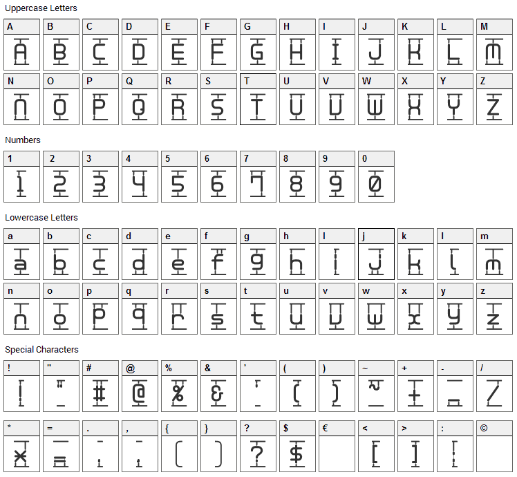 Plamo Font Character Map