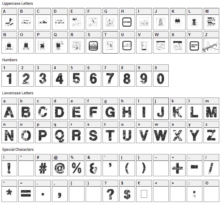 Plane Crash Font Character Map