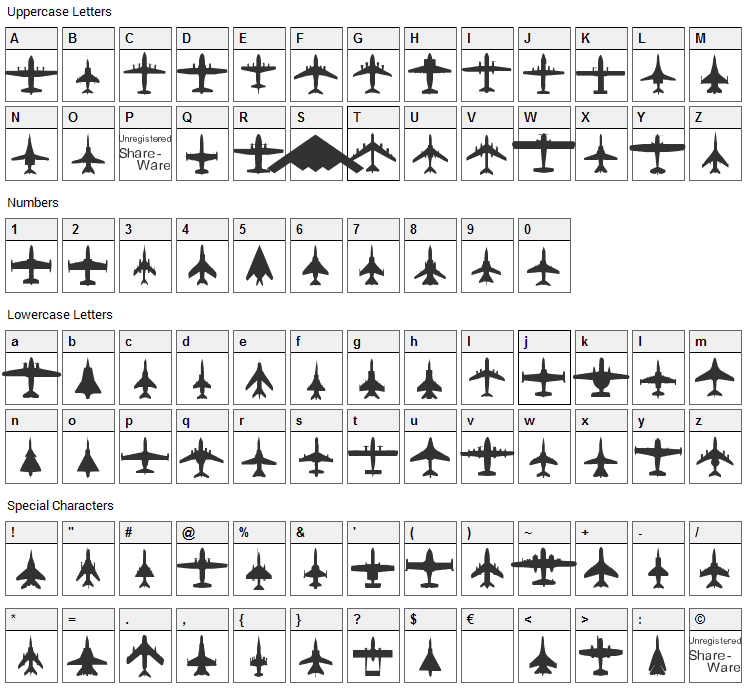Planes-T-Modern Font Character Map