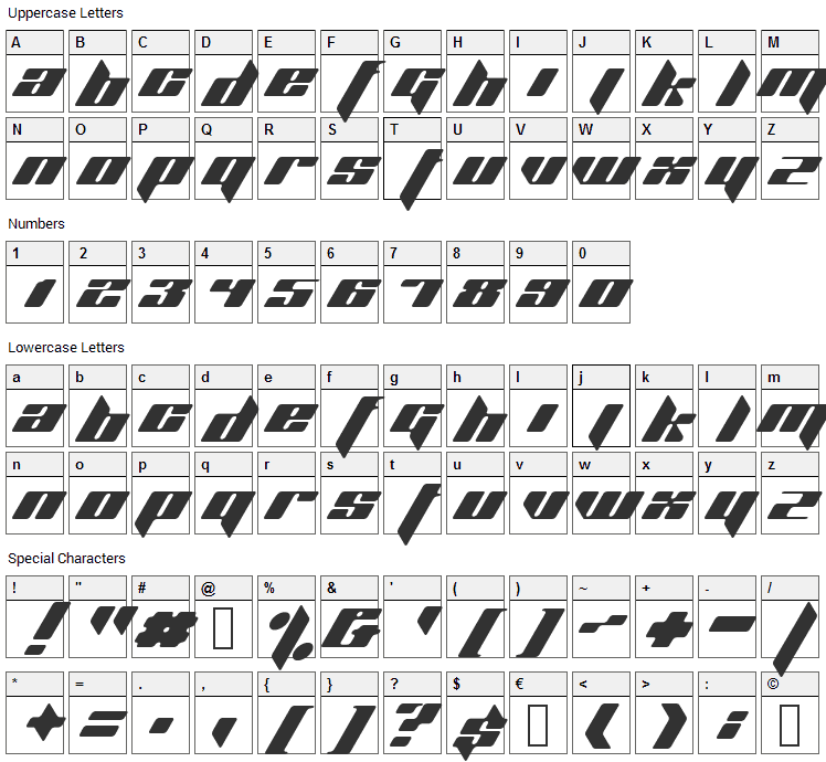 Planet Kosmos Font Character Map