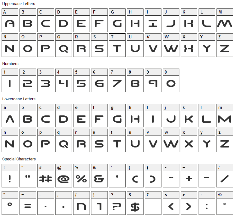 Planet N Font Character Map