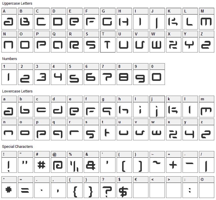 Planet Space Font Character Map