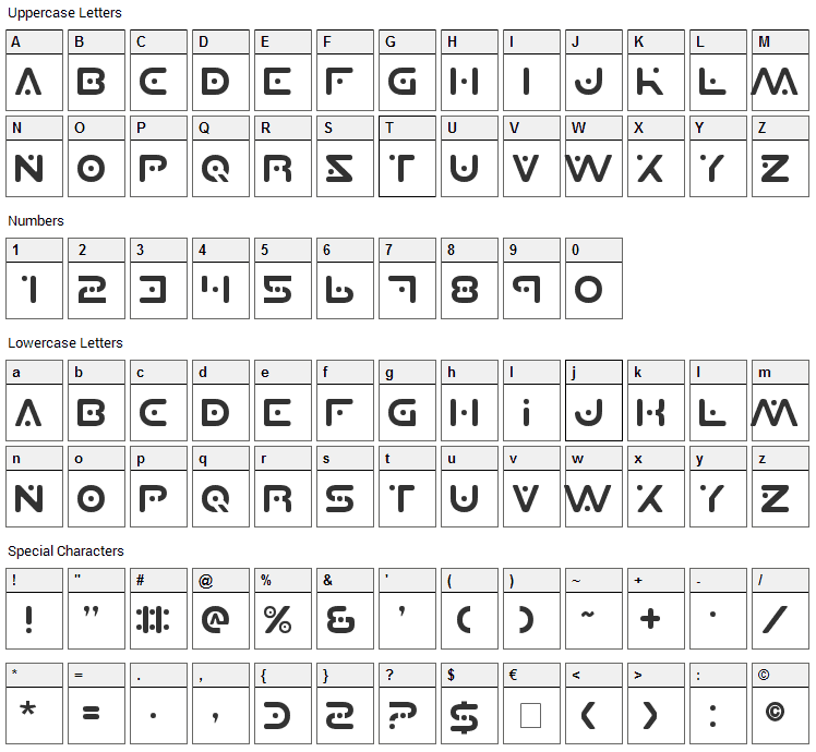 Planet X Font Character Map