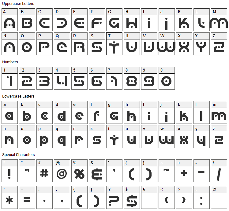 Planetary Orbiter Font Character Map