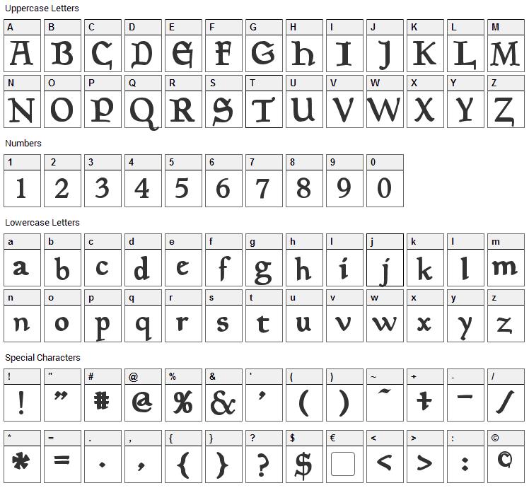 Planewalker Font Character Map