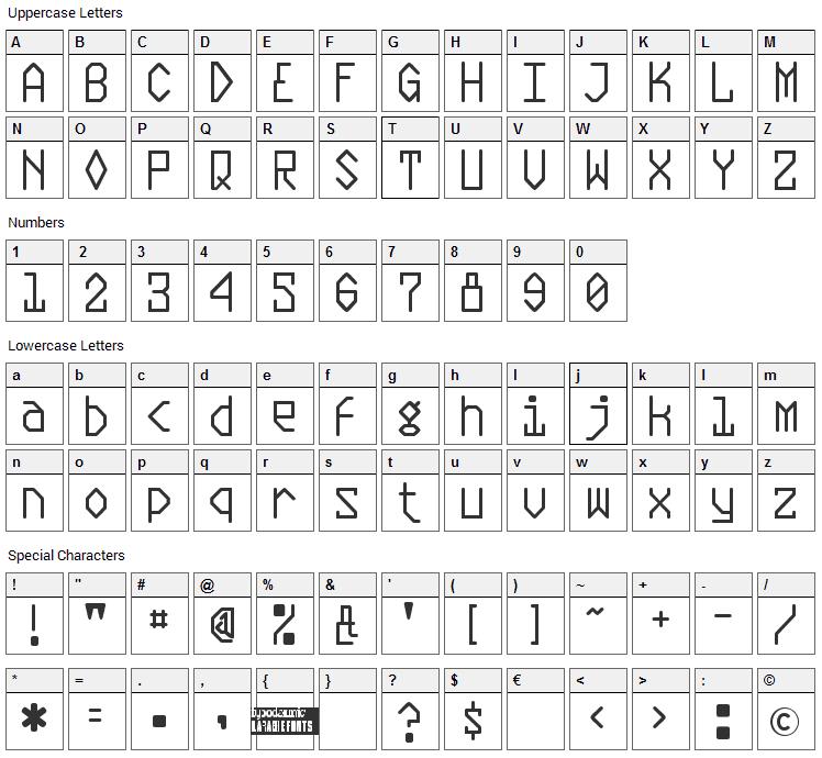 Plasmatic Font Character Map