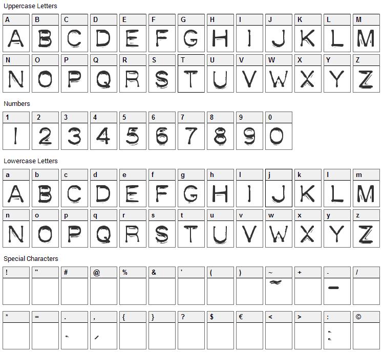 Plastique Font Character Map